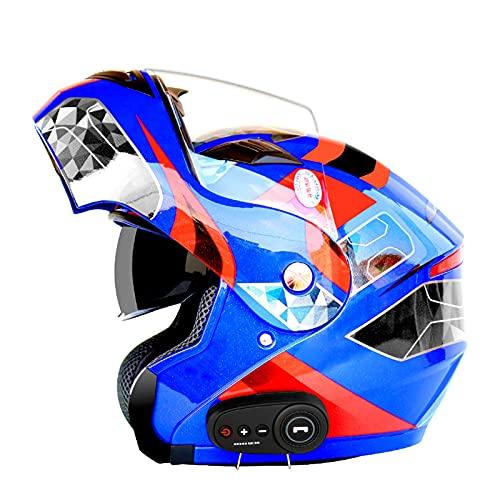 Casco De Motocicleta Modular Bluetooth Full Face Flip Up Auriculares Delanteros Tipo De Flip-Tipo Dual Sun Sun Helmet Casco Integral DOT ECE Aprobado Para Hombres Y Mujeres,G,XXL