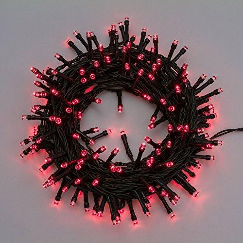 XMASKING Catena 5 m, 100 LED Rossi, Cavo Verde, luci per Albero di Natale, Decorazioni, luci Natalizie