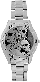 Special Design Cool Scary Skull Pattern Custom Men's Stainless Steel Analog Watch Sliver Metal Case, Tempered Glass