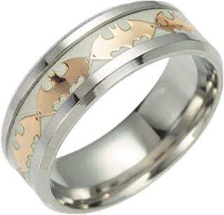 FeixingJewelry Glow in The Dark Gold Batman 316L Titanium Stainless Steel Silver Ring Band
