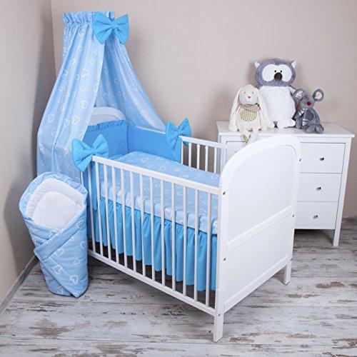 Amilian® Baby Bettwäsche 5tlg Bettset mit Nestchen Kinderbettwäsche Himmel 100x135cm NEU Herzen Blau Vollstoffhimmel