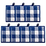HaiMay 7 Pieces Buffalo Check Plaid Pot Holders for Kitchen Oven Mitts, Machine Washable and Heat Resistant Hot Pad with Pocket, Cotton Lattice Blue and White, 7.6 x 7.6 Inches