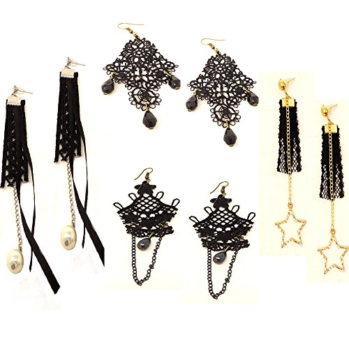 Honbay 4 Pairs Vintage Black Hollow Out Lace Tassels Chandelier Dangle Earrings