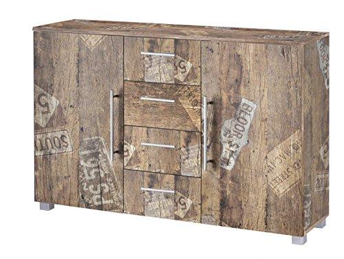 Kommode, Anrichte, Sideboard, Schubkastenkommode, Schubladenkommode Panamaeiche, Vitage, B/H/T ca. 127/83/35 cm