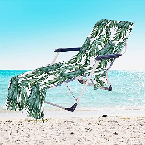 RZHIXR Toalla De Playa De La Serie Plant, Funda De Microfibra para Silla De Playa, Funda para Silla De Piscina, Funda para Silla De Jardín De Hotel, con Bolsa De Almacenamiento Lateral 75 * 210cm