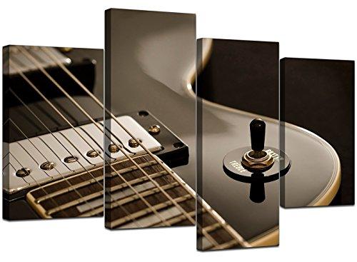 4125 kunstdrukken op canvas, motief: elektrische gitaar, zwart
