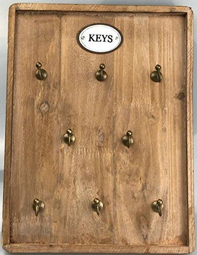 more-decor-de Wunderschönes Schlüsselbrett aus Holz im Landhaus Stil mit 8 Haken - Natur - 26x34cm
