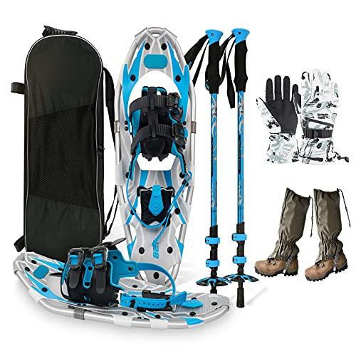 Leichtes Schneeschuh-Set, Bestehend Aus Trekkingstöcken, Handschuhen, Beingamaschen Und Tragetasche - Für Damen Und Herren,Blau,25