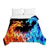 Chickwin Tagesdecken Bettüberwurf, 3D Drache Drucken Sommer Tagesdecke mit Prägemuster Wohndecke aus Mikrofaser Bettdecke für Einzelbett Doppelbett oder Kinder (Flamme,180x220cm)