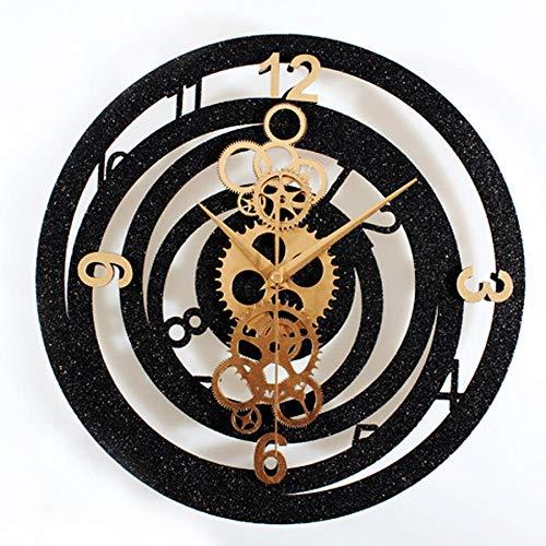 N/A Wanduhr Zahnrad Wanduhr Modernes Design Wohnzimmer Imitation Metall Zahnraduhren Europa Vintage Retro Style Schwarz Wanduhr Silent 12 Zoll