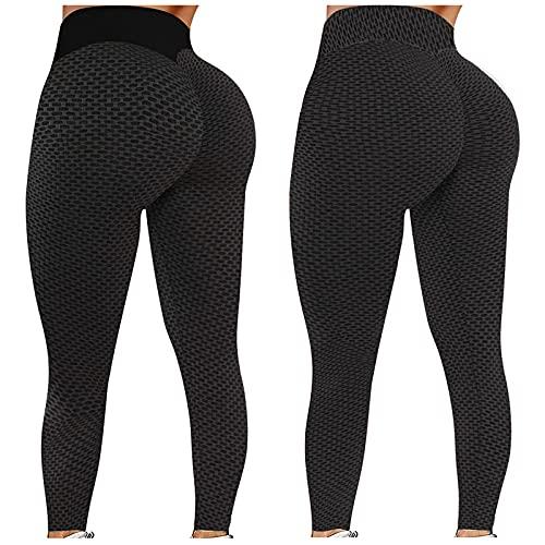 OUAPPA 2-teilig Sport Leggings Damen Einfarbig High Waist Anti-Cellulite-Yogahosen Undurchsichtige Push-Up Sporthose Fitness Workout Butt Lifting Trainingshose(SchwDrz,XXL)