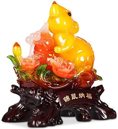 FYHH-JZHY Chinese Rat Year Feng Shui Figurines, Golden Resin Collectible Figurines Chinese Rat Statue Mascot Keepsake Birthday Present, Attracting Wealth And Good Luck