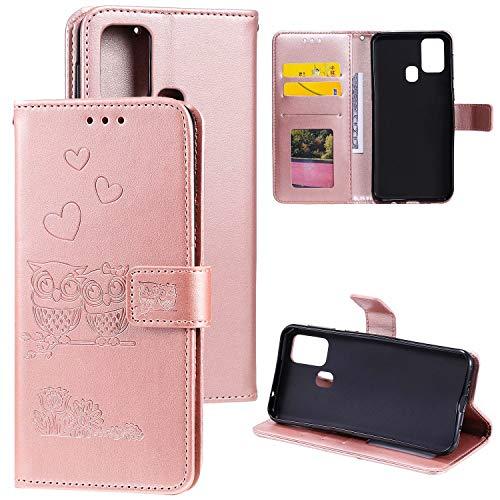 Miagon für Samsung Galaxy M31 Hülle,Geprägt Eule Blumen Herz Muster Pu Leder Ständer Flip Schutzhülle Tasche Brieftasche Etui mit Magnetverschluss Kartenhalter