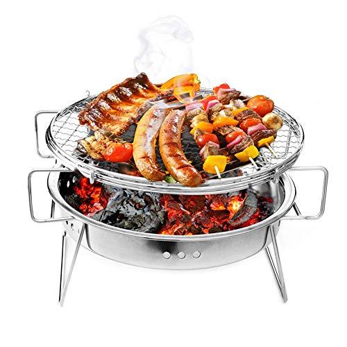 XiYou Fire Pit Bowl BBQ Garden Outdoor Portable Parrilla de Barbacoa de Acero Inoxidable Parrilla de carbón Espesada para el hogar Patio Trasero Fiesta Camping Picnic - Cocina de Mesa
