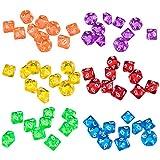 Gazechimp 60pcs Dés Multicolores 10 Faces en Acryliques Dice D10 pour D&D TRPG Jeux de Société Party Bar