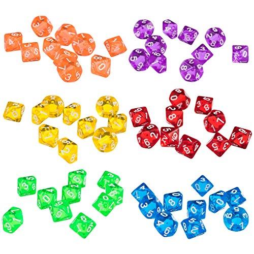 Sharplace 60 Stück Acryl Polyedrisch Würfel Set, D10 Dice Spielwürfel für DND / RPG / MTG Brettspiel Kartenspiel (Bunt)