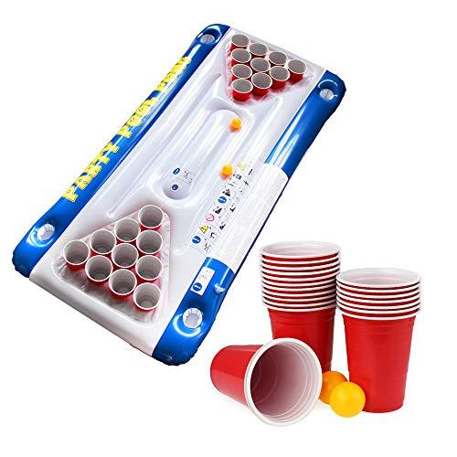 Monsterzeug Bier Pong Luftmatratze für den Swimmingpool, Schwimmender Beerpong-Tisch zum Aufblasen, Lustiges Pool- und Schwimmzubehör