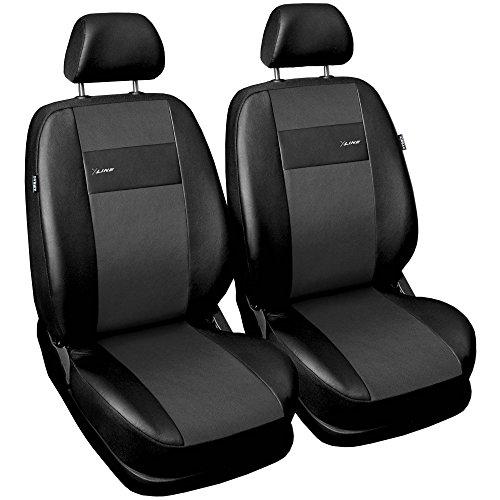 Saferide| Universal Vordersitze 1+1 Set Kunstleder Grau Sitzbezüge Sitzbezug für Auto Sitzschoner Set Schonbezüge Autositz Autositzbezüge Sitzauflagen Sitzschutz PKW X-Line