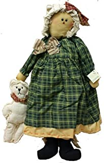 Rag Doll 21 Inches with White Rag Hair and Green Plaid Dress with Ribbons and Bear