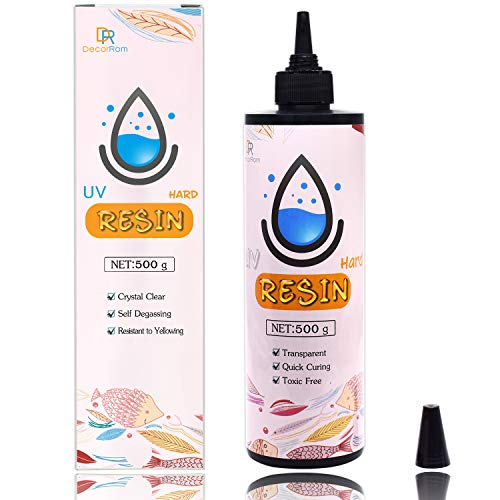 UV Resin - 500g Upgrade Crystal Clear Hard Glue Ultraviolet Curing Epoxy Resin for Jewelry Making Craft Decoration - Transparent Solar Cure Sunlight Activated Thin Resin for Mold, Casting and Coating