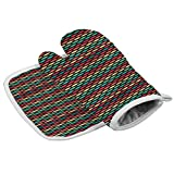 Flame Retardant Oven Gloves Abstract for Grilling, Baking, Welding Diamond Motif Geometric
