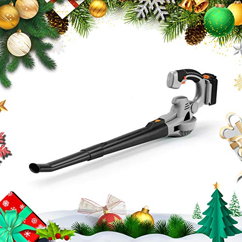 Ukoke U03LB Cordless Electric Power Leaf Blower, Portable Handheld Battery Operate, 40 MPH to 130 MPH, Silver & Black 20V 2A Battery & Charger Included