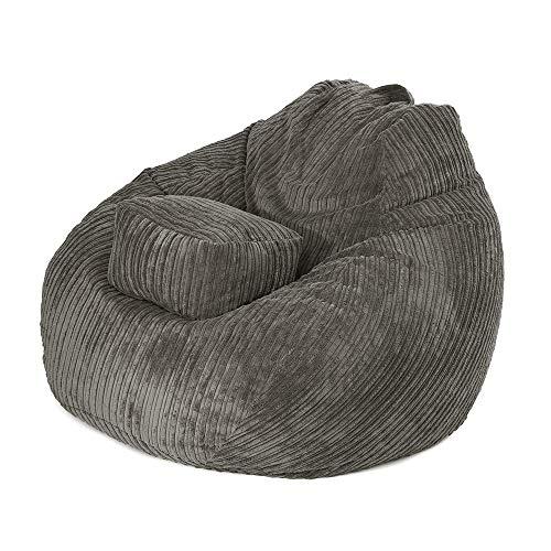 MOMIN Silla Chill Sack Bean Bag Gran Bolsa De Frijol Silla Sofá Sofá Pana Covers Cubierta del Asiento Lazy BeanBag Adultos (Color : Gris, tamaño : Un tamaño)