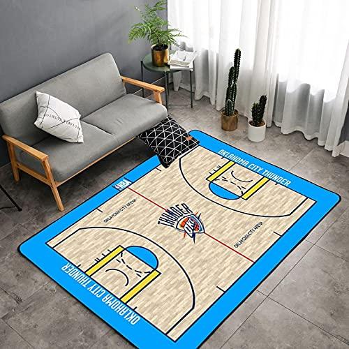 Alfombra De Cancha De Baloncesto Alfombras Impresas Digitales En 3D para Sala De Estar, Alfombra De Piso De Juego para Dormitorio De Niños 120 * 160Cm