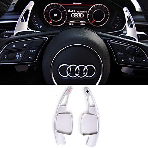 Steering Wheel Paddle Shifter Extensions For Audi, TTCR-II Shift Paddle Blades Fit Audi A4 2017-2019 A3 Q7 S3 2017-2020 A5 S4 S5 2018-2019 Q5 SQ5 2018-2020 Q8 2019-2020 TT TTS 2016-2020(Matt Silver)