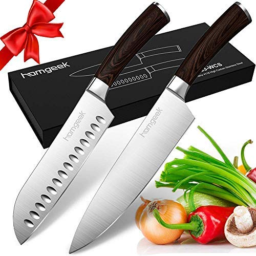 Homgeek Kitchen Chef's Knife Set 8inch, 2 Piece Ultra Sharp Cutting Knife 8 inch Chef Knife & 7 inch Santoku Knife, German High Carbon Stainless Steel Knives with Ergonomic Handle for Home Restaurant