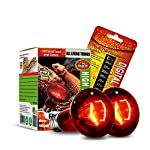 CULLEN 2PCS Reptile Heat Lamp 100W Infrared Basking Spot Heat Lamp,Reptile Light Bulb for Reptiles & Bearded DragonWith Stick-on Digital Temperature Thermometer