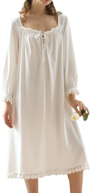Lu's Chic Women's Victorian Nightgown Long Sleeve Sleepwear Princess Nightdress Vintage Lace