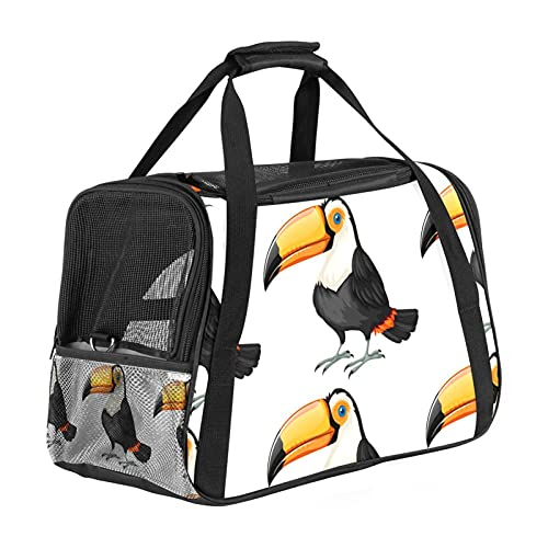Bird White Pet Carrier Bag, Portable Tote Bag Top Opening, Removable Mat And Breathable Mesh, Transport Handbag For Dogs And Cats