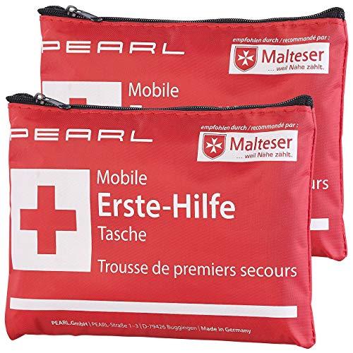 PEARL Verbandstasche: 2er-Set Mobile Erste-Hilfe-Taschen, wasserabweisend, je 24-teilig (Erste-Hilfe-Set Outdoor)