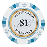Brybelly Monte Carlo Premium Poker Chips Heavyweight 14-Gram Clay Composite – Pack of 50 ($1 White)