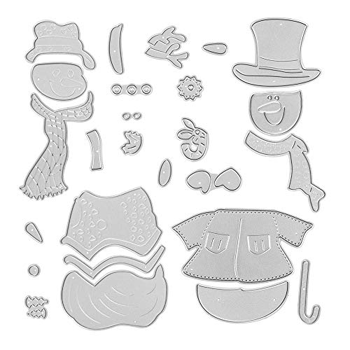 Metal Snowman with A Scarf Cutting Dies and Christmas Snowman Die Cuts Embossing Stencils Template Mould for Card Scrapbooking and DIY Craft Album Paper Card Decor