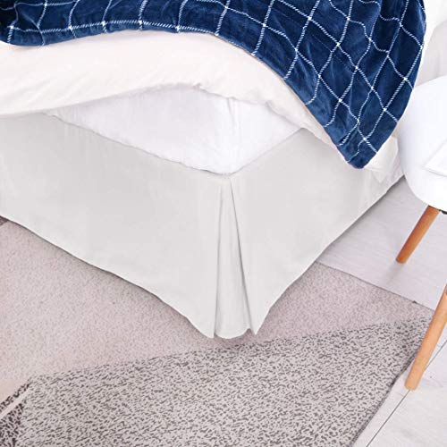 Sxspace Gefalteter Bettrock auf Plattform Easy Care-Serie Perkal-Bettlaken mit 200 Fadenzahl Leintuch mit Faltenvolant (Weiß, King 152cm x 200cm + 39 Drop)