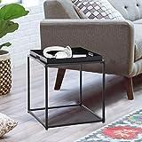 FurnitureR Mesa auxiliar lateral cuadrada pequeña, mesa de sofá, mesa auxiliar de bandeja, mesa de aperitivos, metal, antioxidante, uso exterior e interior para colocar cosas pequeñas, uso...