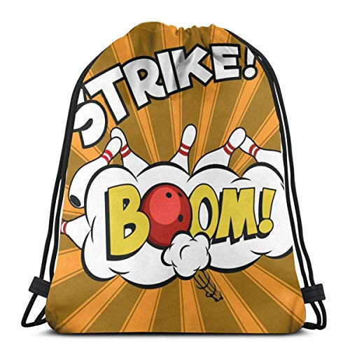 Hangdachang Bowlingbälle und Pins Design Kordelzug Rucksack Gym Sack Cinch Bag String Bag Bowling Bälle und Pins Design1