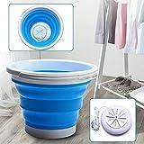 Lavadora plegable mini turbo, cesta de lavandería plegable para camping, apartamentos, viajes de negocios