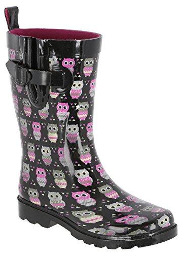 Capelli New York Ladies Owl Printed Mid- Calf Rain Boot Black Combo 10