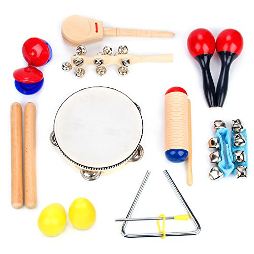 Boxiki kids Musical Instrument Set 16 PCS | Rhythm & Music Education Toys for Kids | Clave Sticks,...