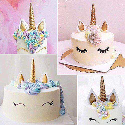 Unicorn Molds,Birthday Small Cake Silicone Mould Bonus With Mini Unicorn Fondant Candy Making Mold, Unicorn Horn ear Eyelash Baking Cupcake Topper Kit(Set of 7)