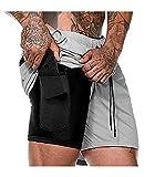 Malavita Men's Workout Running Shorts 2 in 1 with Zipper Pockets Light Grey US L_Asia Tag XL(Waist:31.5'-35.5')