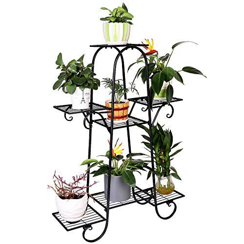 7 Tier Plant Stands Indoor Metal Plant Shelf Stand Outdoor Multilayer Potted Planters Display Rack...