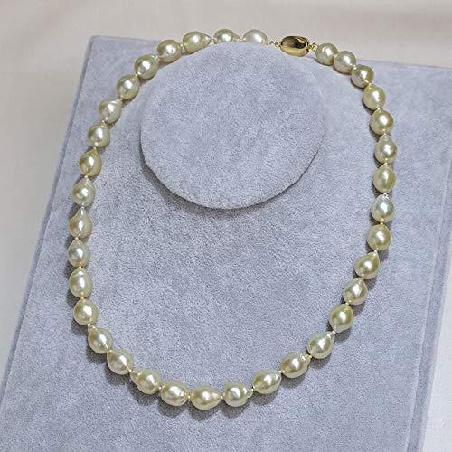 YMKCMC Halskette 9-10Mm Meerwasser Kultiviert Barock Südsee Perlenkette Für Jubiläum Fine Jewelry 9-10Mm Hellgolden