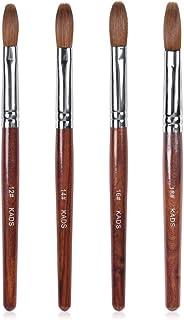 KADS Acrylic Nail Art Brush 100% Kolinsky Sable Pen Red Wood Round Flat Acrylic Brush for Nail Art Brush for Nail Gel Builder Tool (Set of 4)