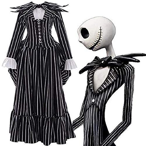 Yidali The Nightmare Before Christmas Jack Skellington Disfraz de Cosplay Disfraz de Halloween a rayas Disfraz de Jack Skellington Disfraz de fiesta Disfraz para mujeres Hombres