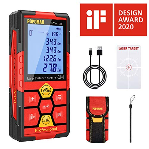 Laser Measure, 196Ft USB Rechargeable POPOMAN Laser Distance Meters with Electronic Angle Sensor, Mute Function, Measure Distance, Area and Volume, Pythagoras - MTM120B