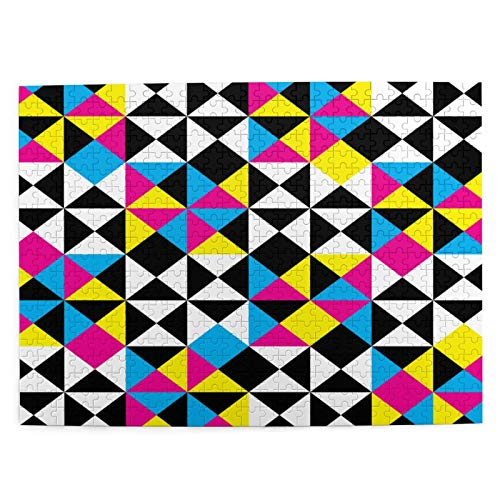 MANISENG Jigsaw Puzzles 500 Stück,Arabesque Abstract Intersections Pyramide CMYK Plaid Impression Negative Space Design,Family Large Puzzle Game Artwork für Erwachsene Teens Kids